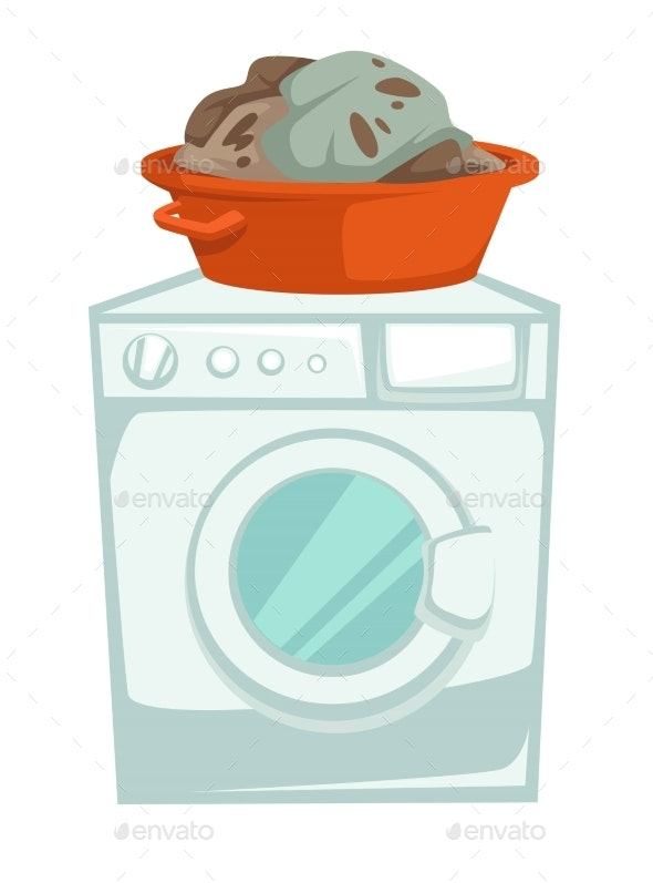 Washing Machine and Dirty Clothes in Basin - Man-made Objects Objects