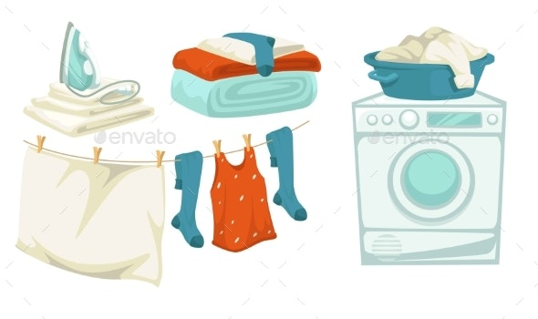 Washing Machine and Iron Laundry and Drying Line - Man-made Objects Objects