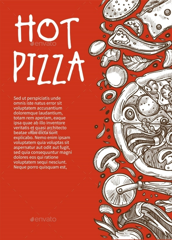 Hot Pizza Poster Pizzeria Restaurant or Cafe - Food Objects
