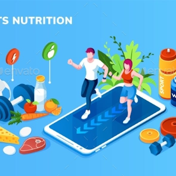 Isometric Screen for Sport, Healthy Nutrition App