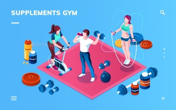 Gym Supplement, Workout or Fitness Application - Sports/Activity Conceptual