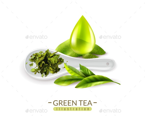 Herbal Green Tea Composition - Food Objects