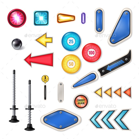 Pinball Realistic Elements Set - Miscellaneous Vectors