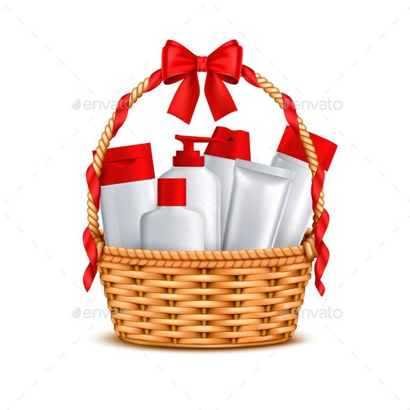 Cosmetics Basket Gift Realistic - Man-made Objects Objects