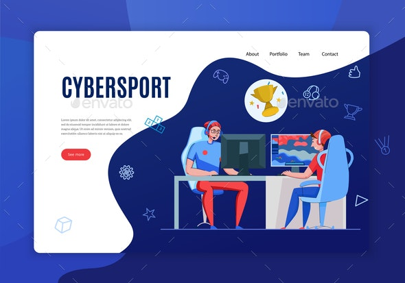 Cybersport Website Landing Page - Computers Technology