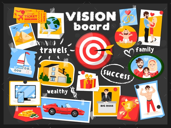 Vision Map Board Background - People Characters
