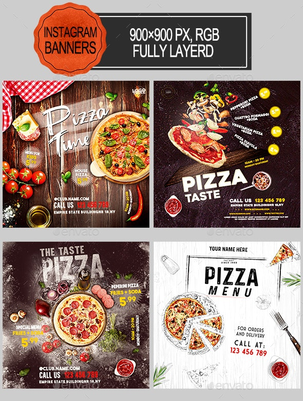 Pizza Restaurant Instagram Banners - Banners & Ads Web Elements