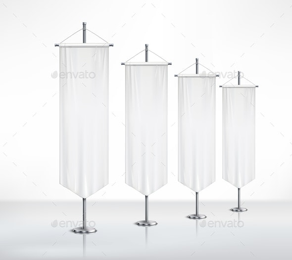 Pedestals With Pennants on Smooth Surface - Sports/Activity Conceptual