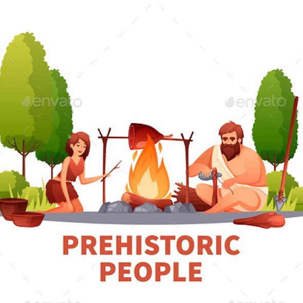 Prehistoric People Flat Composition