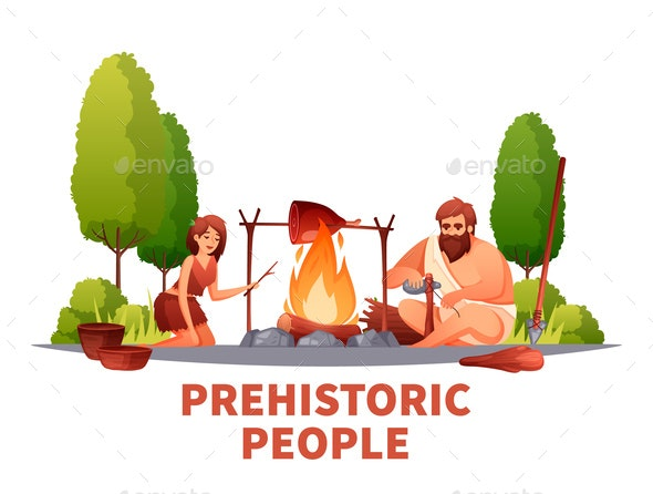 Prehistoric People Flat Composition - People Characters