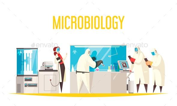 Doodle Microbiology Background Composition - Miscellaneous Vectors