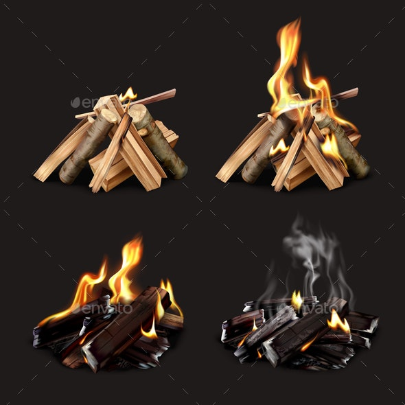 Campfire Phases Realistic Set - Man-made Objects Objects