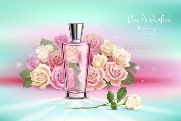 Perfume Vial and Bouquet of Roses - Miscellaneous Vectors