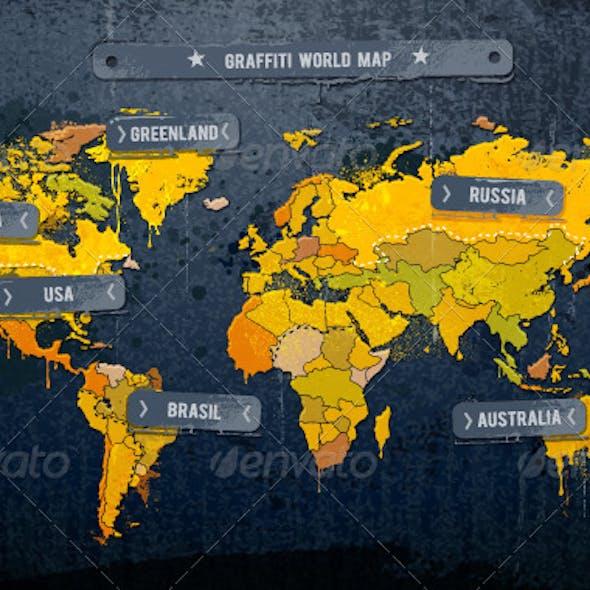 Grunge painted world map