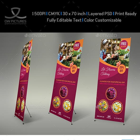 Flower Shop Signage Banner Roll Up Template Vol.2