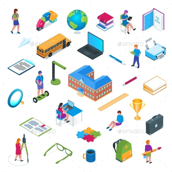School and Education Isometric Icon Set 01 - Miscellaneous Vectors