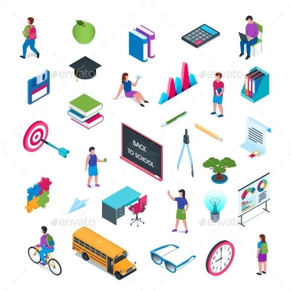 School and Education Isometric Icon Set 02 - Miscellaneous Vectors