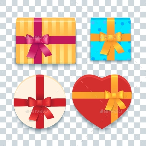 Cartoon Colorful Gift Boxes Set - Man-made Objects Objects
