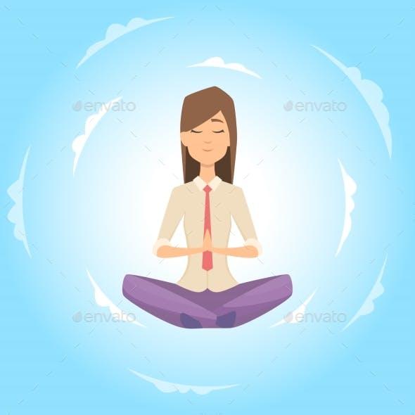Businesswoman Safe the Balance with Meditation