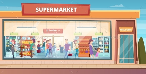 Supermarket Facade. - Buildings Objects