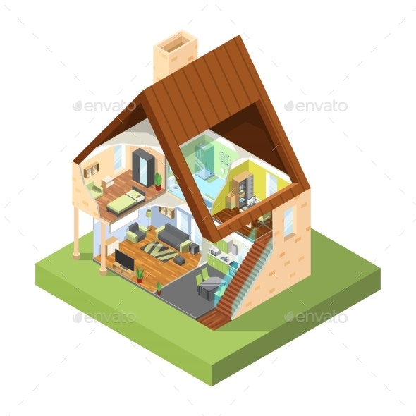 House Cutaway Isometric. Interior of Modern House - Buildings Objects