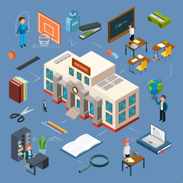 High School Isometric Vector Illustration. 3D - Buildings Objects