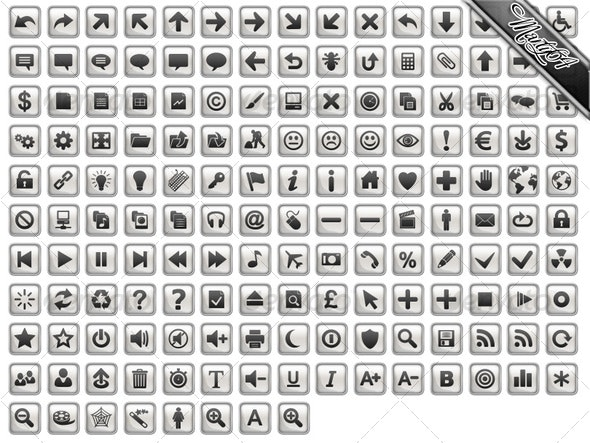 Chrome / Silver / Grey Icons - Rounded Square - Web Icons