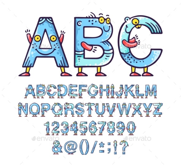 Cartoon Doodle Alphabet or Font with Eyes & Smiles - Miscellaneous Vectors