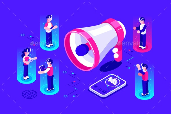 Isometric Business Advertising Promotion - People Characters