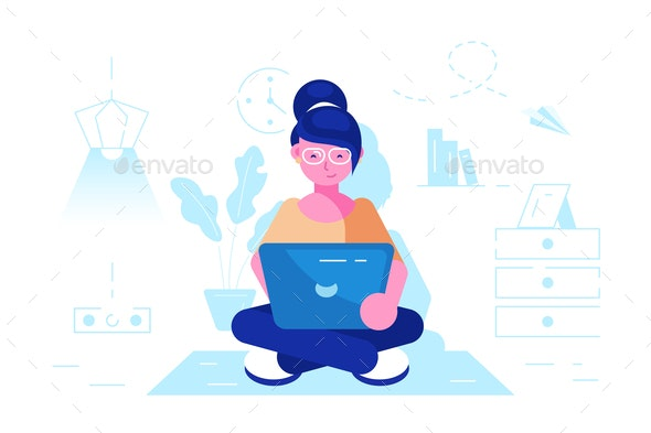 Girl Online Assistant at Work - Concepts Business