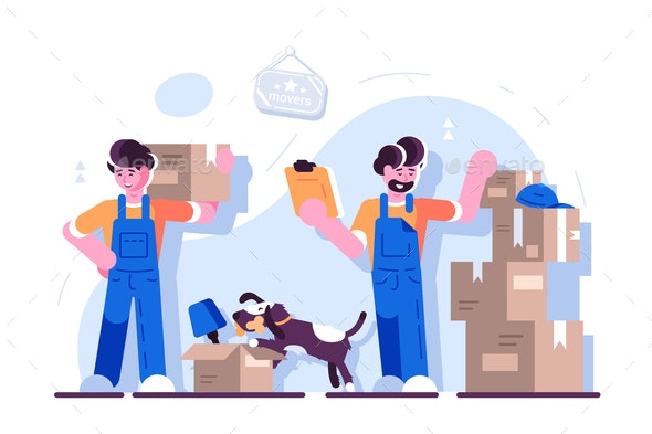 Cartoon Loaders Movers Team - Industries Business