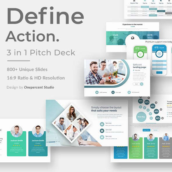 3 in 1 Define Action Bundle Pitch Deck Powerpoint Template