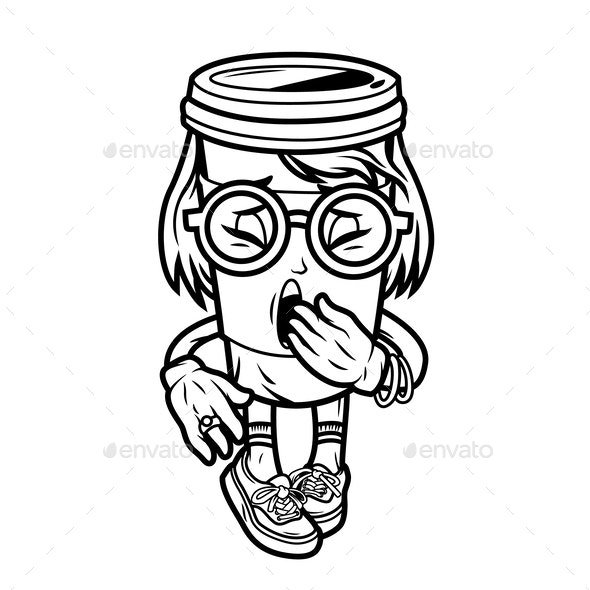 Vintage College Coffee Character - Miscellaneous Characters