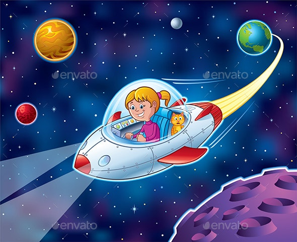 Girl Flying in Spaceship With a Cat - Travel Conceptual