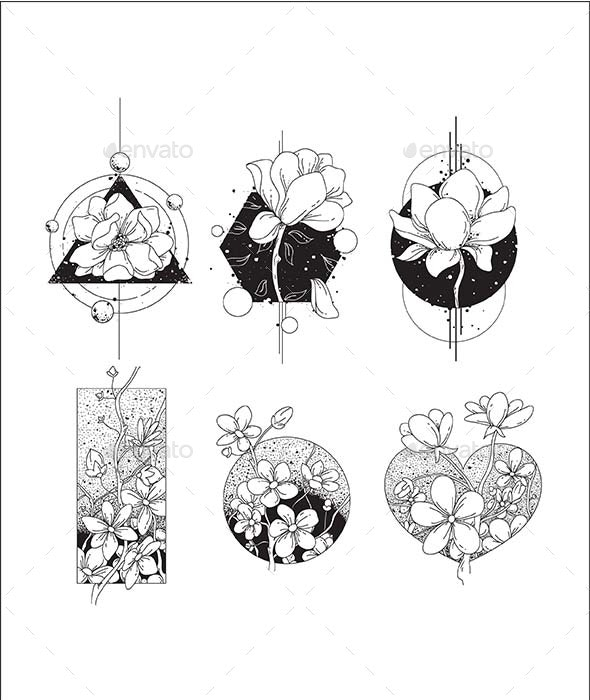 Flowers Shape Tattoo Vector - Flowers & Plants Nature