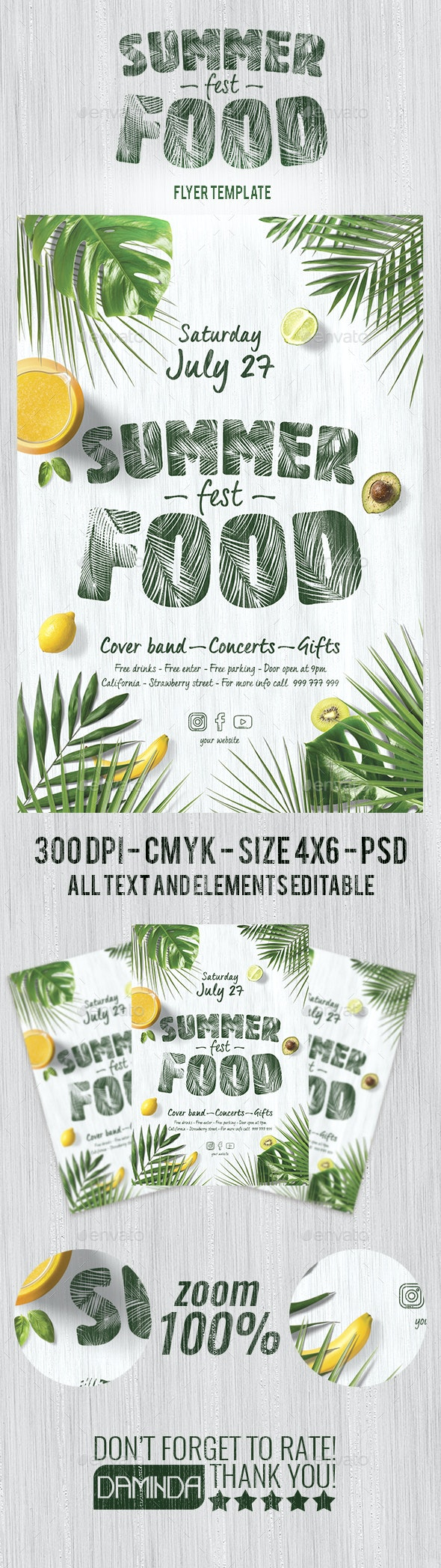 Summer Food Fest 2019 Flyer Template - Clubs & Parties Events