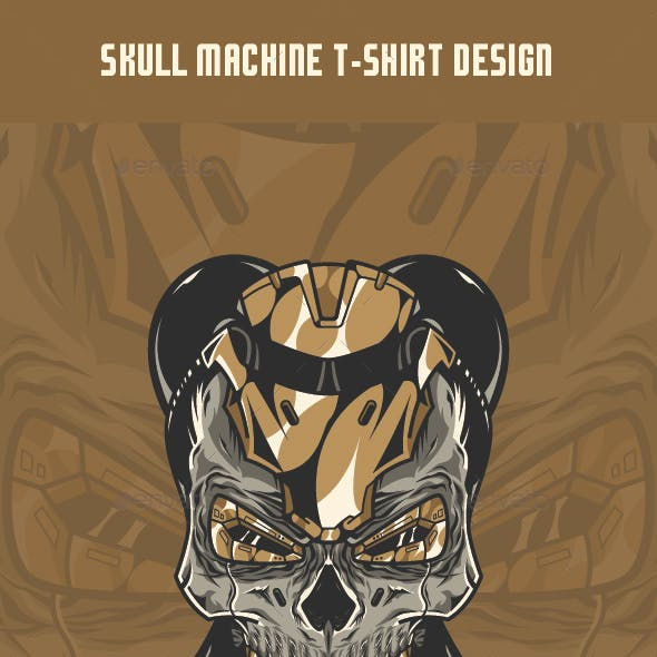 Skull Machine T-Shirt Design