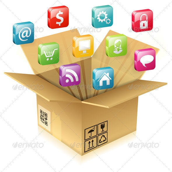 Cardboard Box with Set of Icons - Computers Technology