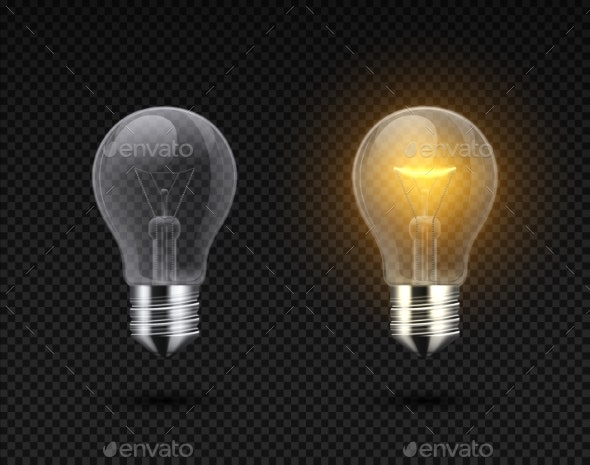 Realistic Light Bulb. Glowing Yellow and White - Objects Vectors