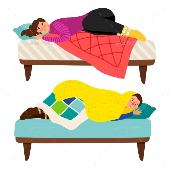 Depressed Woman and Man in Bed - Depression Vector - People Characters