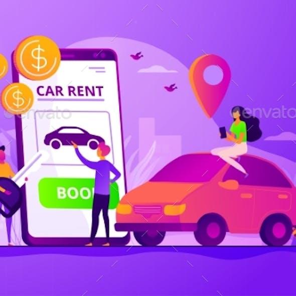 Rental Car Service Concept Vector Illustration