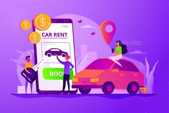 Rental Car Service Concept Vector Illustration - Services Commercial / Shopping