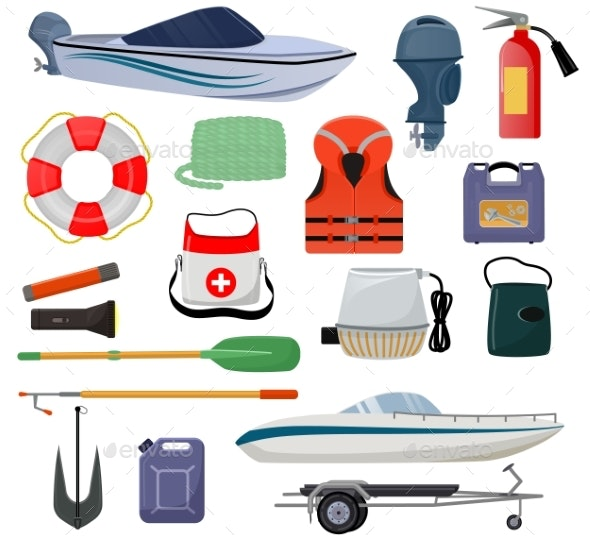 Boat Equipment Vector Motorboat Yacht with Life - Man-made Objects Objects