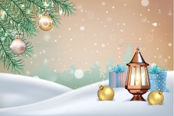 Vector Christmas Landscape - Christmas Seasons/Holidays