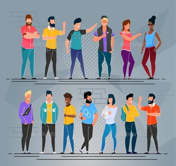 Multi-Ethnic People Freelancers Cartoon Group Set - People Characters