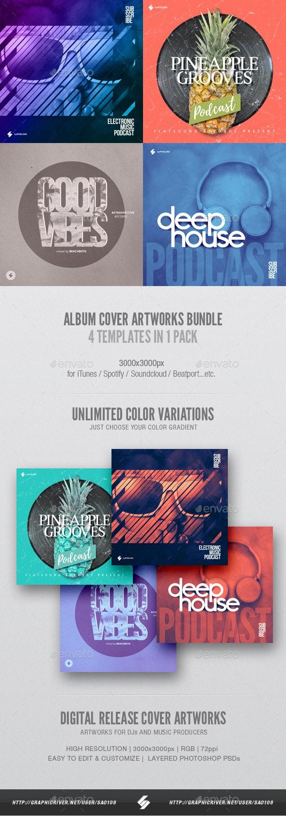 Electronic Music Album Cover Artwork Templates Bundle 13 - Miscellaneous Social Media