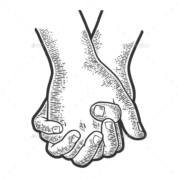 Couple in Love Hold Hands Sketch Engraving Vector - Miscellaneous Vectors
