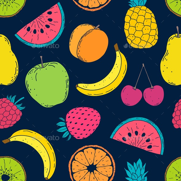 Pattern with Colorful Fruits - Food Objects