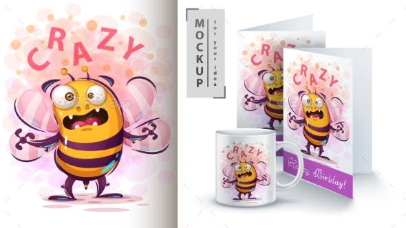 Fly Bee - Mockup for Your Idea - Animals Characters