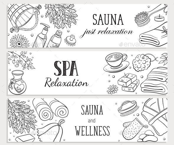 Sauna Sketches Poster Vector Illustration - Miscellaneous Vectors